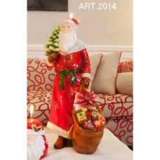 Kerze Weihnachtsmann mit Sack, rot, handgemacht