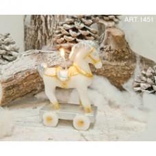 Kerze Pferd Weiss auf Wagen, 11x8 cm, H 18 cm, handgemacht