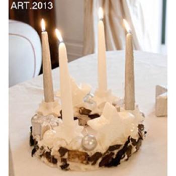 Weihnachtskranz mit Kerzen und Sternen, weiss Ø 28 cm, handgemacht