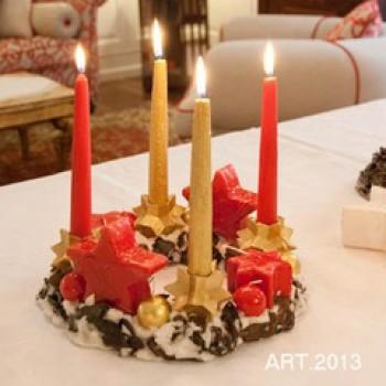 Weihnachtskranz mit Kerzen und Sternen, rot Ø 28 cm, handgemacht