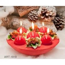 Adventskranz mit Tannzapfen, rot mit Kerzen Ø 25 cm H 10 cm, handgemacht