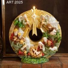 Weihnachtskranz mit Krippenszene und Kerze Ø 30 cm