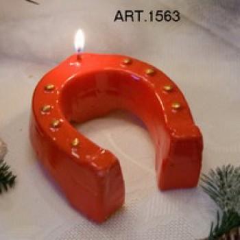 Kerze Hufeisen Rot Ø 10 cm