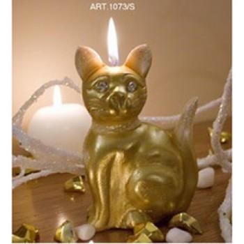 Kerze Katze Gold, mit golgenden Steinchen, H 15,5 cm, handgemacht