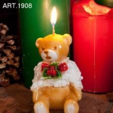Kerze Bär mit Weihnachtsdekoration, H 11 cm Ø 9 cm, handgemacht