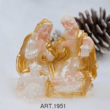 Kerze Krippe Gold H 9 cm, Ø 8 cm, handgemacht