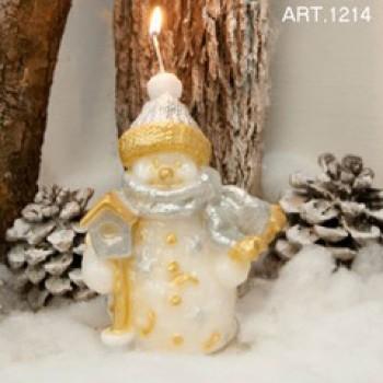 Schneemann Gold-Weiss, Kerze H 16 cm, handgemacht