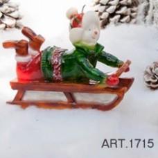 Kerze Schneemann auf Schlitten 18x7 cm, H 14 cm, handgemacht