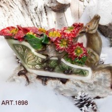 Kerze Rentier mit Schlitten, 35x11 cm, H 25, handgemacht