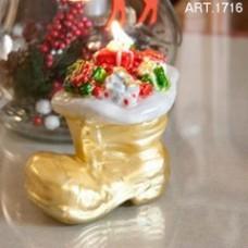 Weihnachtsschuh mit Geschenken, gold, Kerze 15x9 cm H 12 cm, handgemacht