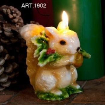Kerze Eichhörnchen, H 14 cm Ø 10 cm, handgemacht