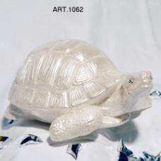 Kerze Schildkröte gross weiss L 25 cm, Ø 20 cm, handgemacht