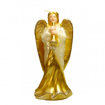 Kerze stehender Engel mit Geige Höhe 23cm, farbe weiss-gold