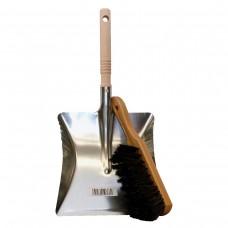 Metallschaufel, Kehrblech mit Holzgriff und Handbesen aus Holz mit Borsten Naturhaar-Mischung