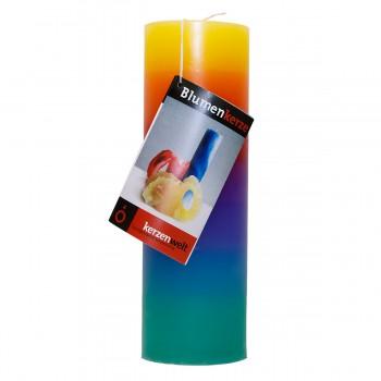 Blumenkerze Regenbogen 21cm