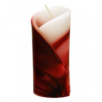 Decor Kerze 12 cm, rot/weiss