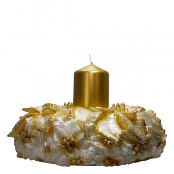 Goldener Kranz mit Kerze, H 20 cm Ø 33 cm, Unikat, handgemacht