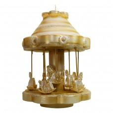 Goldenes Karussell Kerze H 29 cm Ø 22 cm, handgemacht