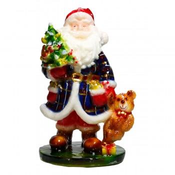 Nikolaus mit Bär, Kerze H 23 cm, handgemacht