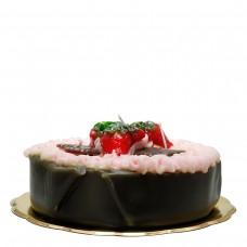 Schokolade Kuchen Kerze mit Erdbeeren, H 9 cm, Ø 22 cm, handgemacht