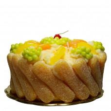 Früchte Kuchen, Citrus, mit Rahm und Löffelbisquits, Kerze, H 13 cm Ø 24 cm, handgemacht