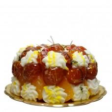 Marroni Kuchen, Kerze, H 10 cm, Ø 20 cm, handgemacht