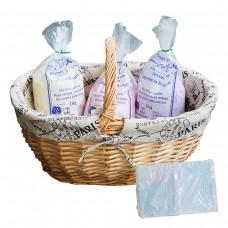 Bastel Starter Kit, 3x Seifenflocken & 1x Glycerin Seife zum Basteln, mit Einkaufskorb